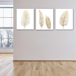 Plumas Doradas Triptico Cuadro Decorativo Lienzo Canvas