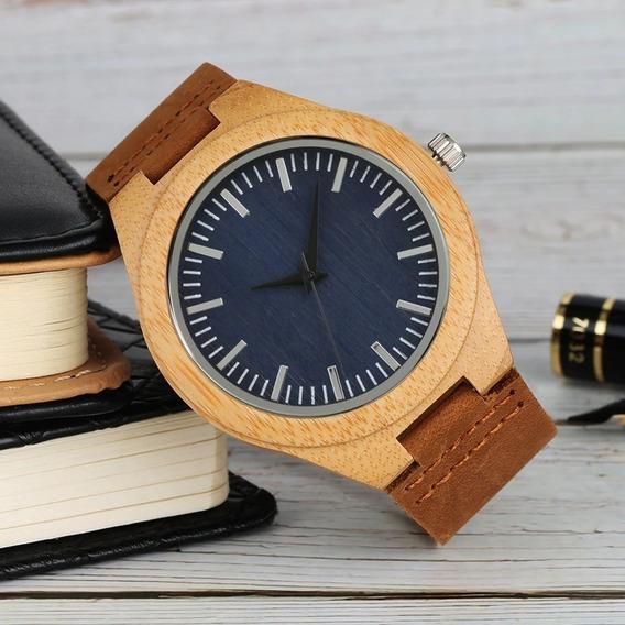 Reloj De Madera Para Hombre Con Estuche Metálico