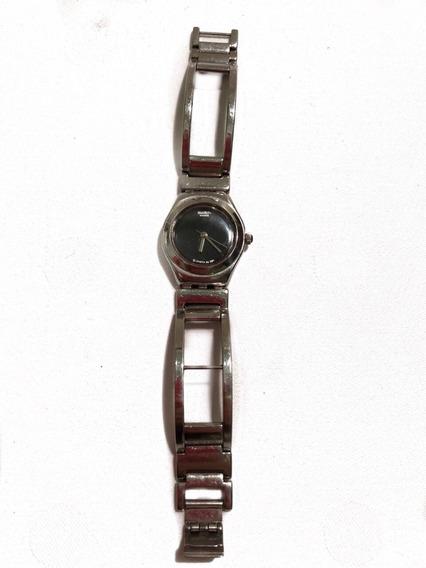Relógio Swatch Feminino Em Aço Inoxidável E Fundo Preto