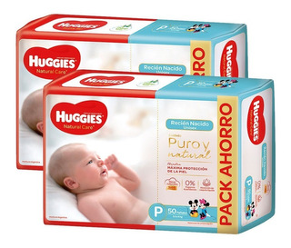 Pañales Huggies Natural Care P Promopack X 50 Pack X 2