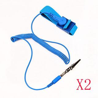 2 X Cable Antiestático Esd Pulsera Correa Descarga Banda Tie