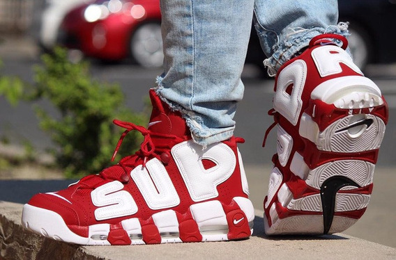 Nike Air More Uptempo Supreme Suptempo Vermelho Tamanho 41