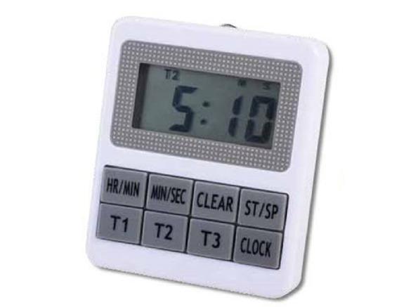 Timer Digital Luft 3 Registros Con Reloj Para Mesa O Colgar