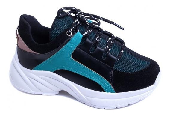 Tênis Chunky Sneaker Em Napa Preto, Verde E Camurça Preto