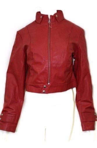 Jaqueta De Couro Legítimo Curta Original Vermelha X186