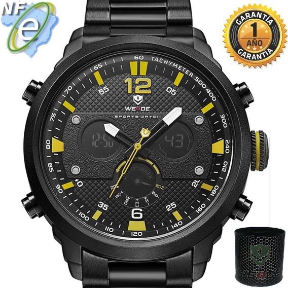 Relógios Masculinos Preto Grande Original Resistente Aguá Nf