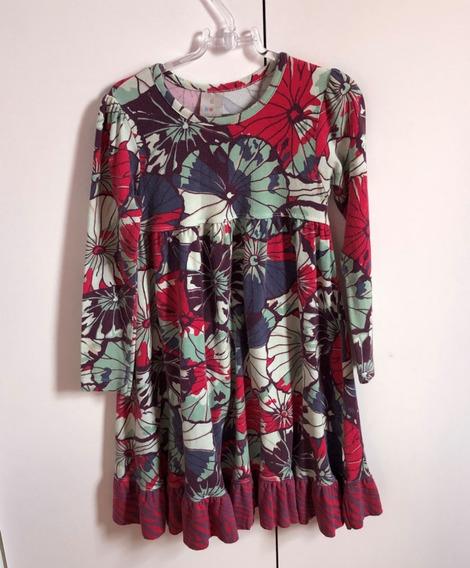 Vestido Puc Mangas Compridas Tamanho 6 Estampa Floral