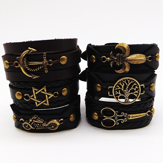 Kit Com 50 Bracelete Couro Fivela Masculino Revenda Lucro