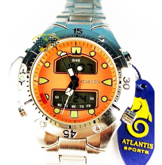 Relógio Masc Atlantis A3154 Aqualand 1060 Fundo Laranja Grd