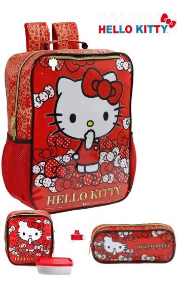Kit Mochila Infantil Hello Kitty Lancheira Estojo + Brinde