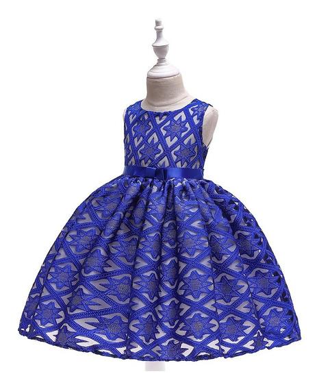 Vestido Niña Fiesta Elegante Estrellas Azul Rey