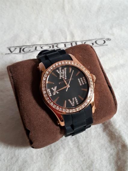 Lindo Relógio Victor Hugo Rosê Vh 10040 Com Swarovski
