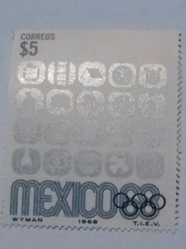 Imagen 1 de 1 de Timbre Postal $5 Mexico 1968 Simbolos Eventos Mint