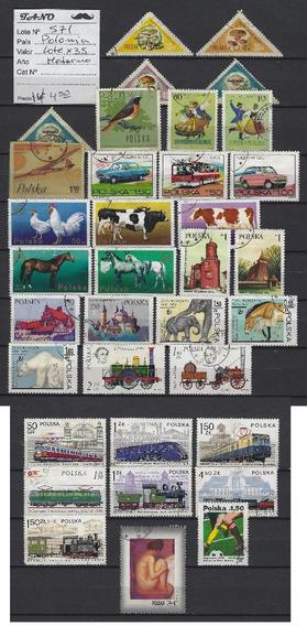 Lote571 Polonia Lote De 35 Estampillas Modernas Tematicas