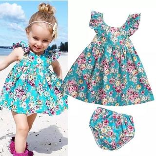 Vestido Bebe Importado Infantil Verão Azul Floral Calcinha