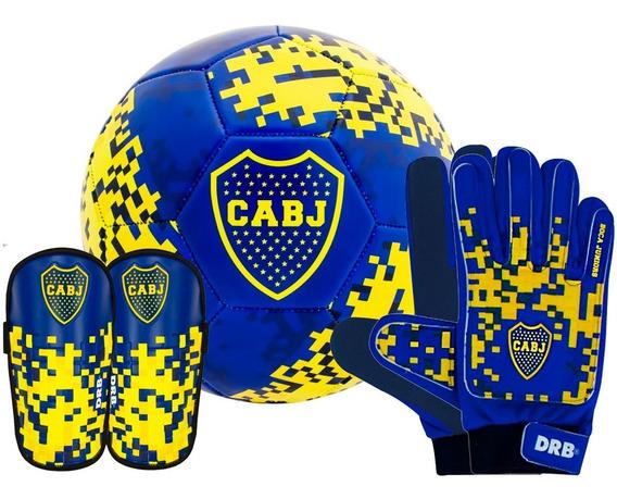 Kit Futbol Boca Pelota Oficial N 5 Guantes Arquero Canillera