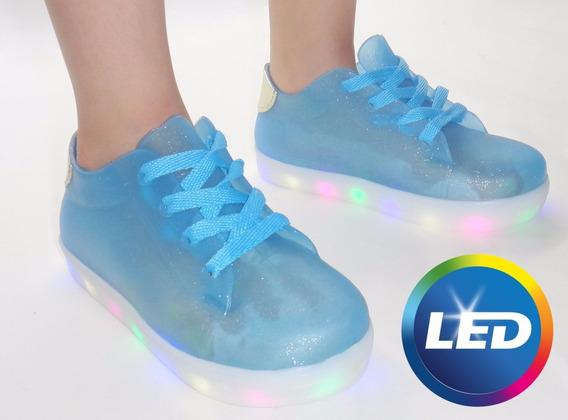 Tênis Infantil Luz Led 7 Várias Cores Impacto Azul Glitter