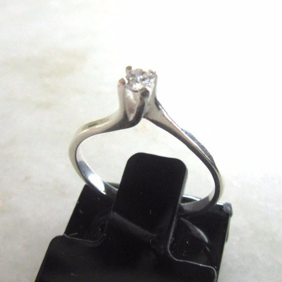 Anel Solitario Prata 925 Zirconia Noivado Caixa Veludo