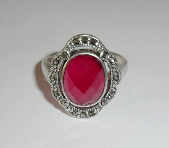 Anel Feminino Prata 925 Pedra Cor Rubi Rosa Marcassitas