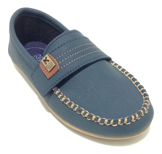Sapato Masculino Infantil Mocassim Cor Azul Marinho