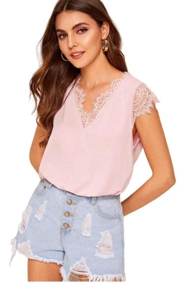 Blusa De Dama Elegante Con Encaje Color Rosa Sólido