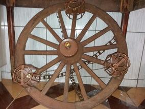 Luminária Rústica Roda De Carroça Antiga Bem Grande Linda
