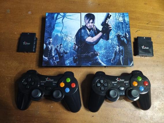 Playstation 2 + 02 Controles Sem Fio + 10 Jogos