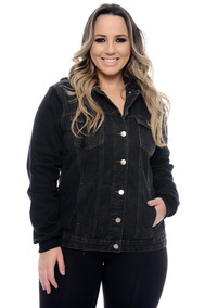 Jaqueta Plus Size Jeans & Moletom Preta