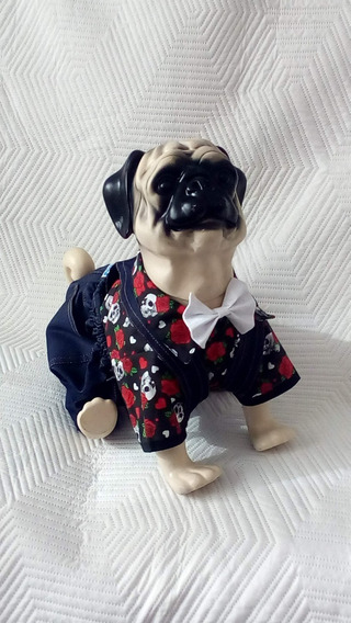Roupa Para Cachorro, Jardineira Jeans + Camisa Estampada