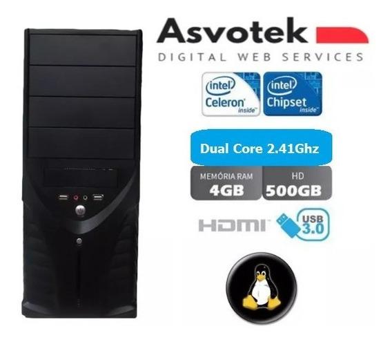 Computador Intel Celeron Dual Core 2gb 500gb Linux Asvotek