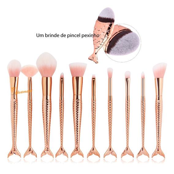 Pincel Sereia Kit 11 Pinceis-dourado/verde