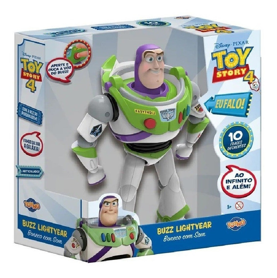Buzz Lightyear Boneco Fala 10 Frases Toy Story Toyng 38169