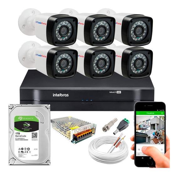 Kit Cftv 6 Cameras Seguranças 1080p Full Dvr Intelbras 1tb