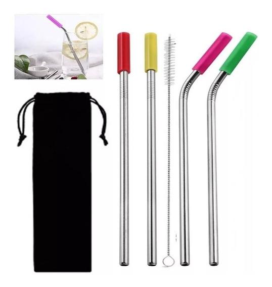 4 Canudo De Inox Reutilizável Reto E Curvo+limpador+bolsinha