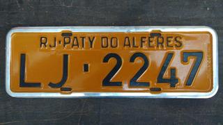 Placa Antiga Amarela Rio De Janeiro Paty Do Alferes Lj 2247