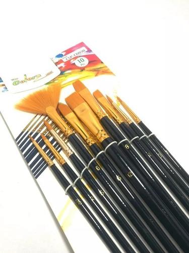 Pinceles Set X 10 Unds Oleo Pintura Acrilico