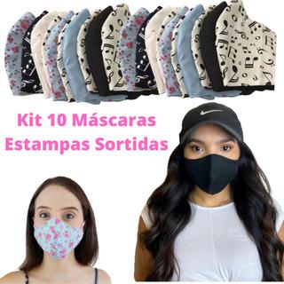 Kit 10 Mascaras Coloridas Tecido Não Descartáveis Lavável