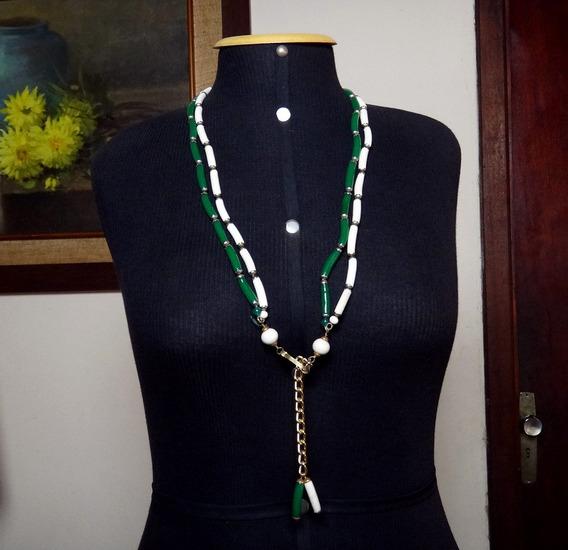 Exclusivo Colar Verde Branco E Ouro Fashion Italia Anos 70