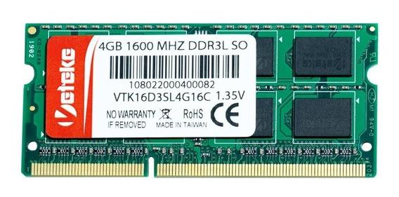 Memória Veteke 4gb Ddr3l 1600 Mhz Notebook 1,35v 16chips