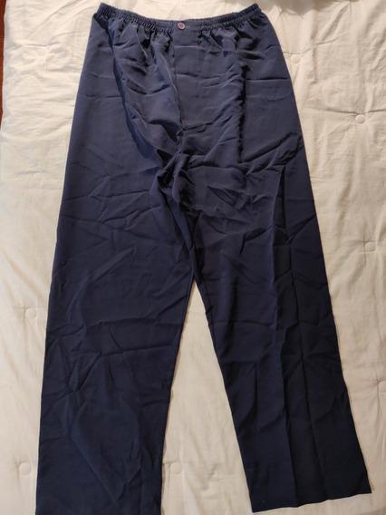 Pantalon Pijama De Seda Color Azul Oscuro Talle 2