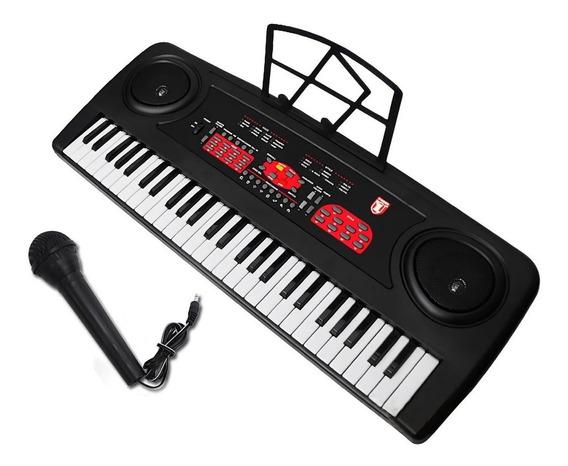 Teclado Electrico Musical Microfono 54 Teclas Kaiser Atril