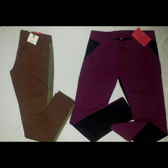 Pantalones Casuales Doble Tono Strech Talla 6 8 10