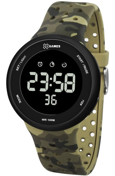 Relógio Masculino X Games Digital Xmppd486 Verde Camuflado