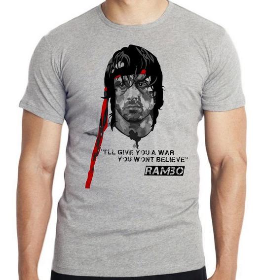 Camiseta Luxo Rambo Faixa Vermelha Sylvester Stallone Filme