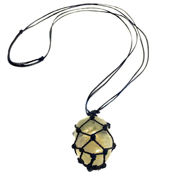 Colar Citrino Pedra Castroada Hippie Cristal Natural 688