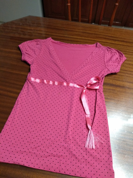 Remera Fuxia Lunares Con Galon Y Moño T Small