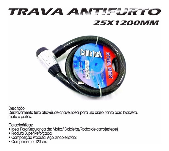 Trava Antifurto Codificada Cabo Aço Especial 25mm X 1,20 Mt