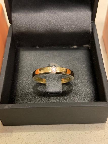 Solitário Ouro Amarelo 18k E 10 Pontos De Diamantes - Vivara