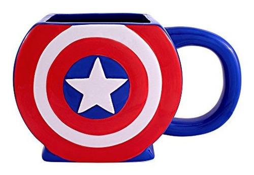 Imagen 1 de 2 de Capitán América Escudo 3d Taza
