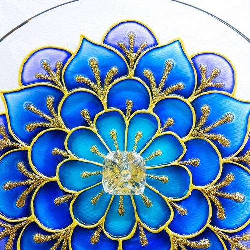 Incensário Mandala Floral Azul Redondo Em Vidro